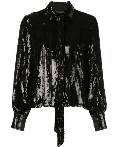 Классическая блузка с длинным рукавом с воротником с вышивкой с декольте Sally Lapointe