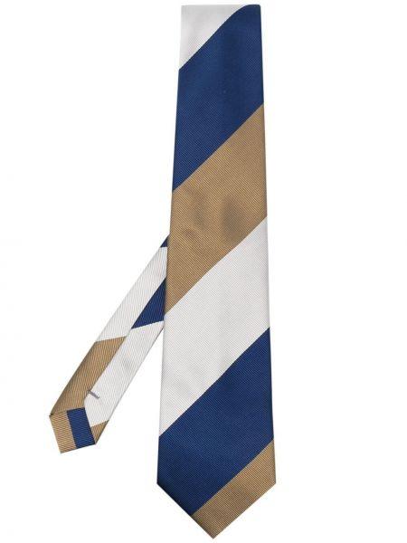 Niebieski krawat w paski z jedwabiu Comme Des Garcons Homme Deux