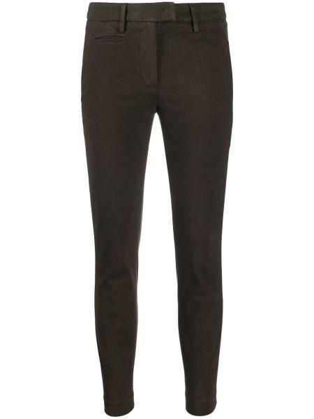 Хлопковые брючные серые укороченные брюки стрейч Dondup