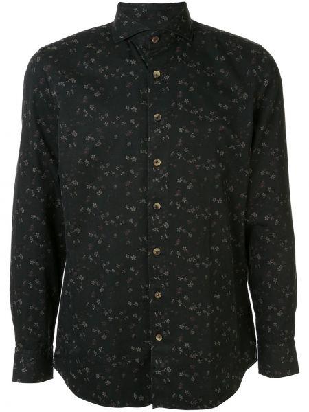 Czarna koszula bawełniana z długimi rękawami Lardini