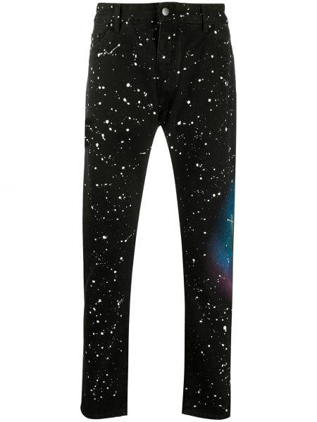 Bawełna skórzany czarny jeansy o prostym kroju z kieszeniami Palm Angels