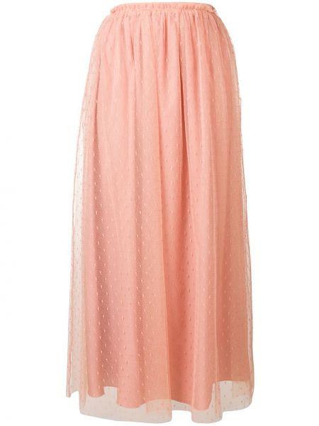 Розовая с завышенной талией юбка миди в рубчик с поясом Redvalentino