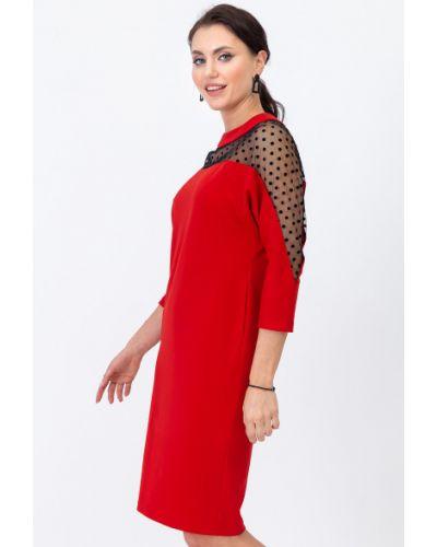 Красное платье с карманами с кокеткой с сеткой Lady Taiga