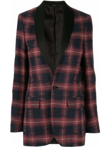 Однобортный красный пиджак с карманами R13