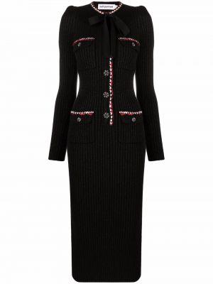 Шерстяное платье макси - черное Self-portrait
