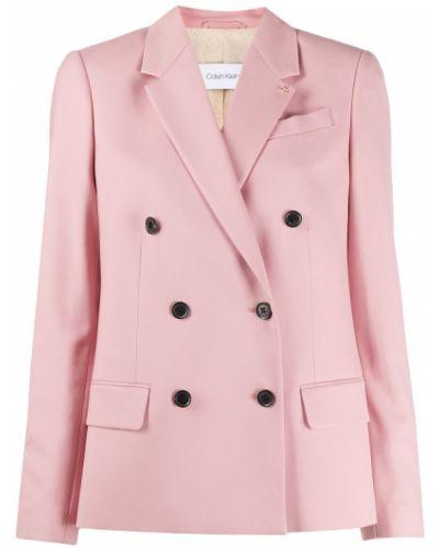 Розовый удлиненный пиджак двубортный с карманами Calvin Klein