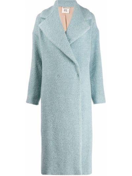 Синее длинное пальто с капюшоном на пуговицах Semicouture
