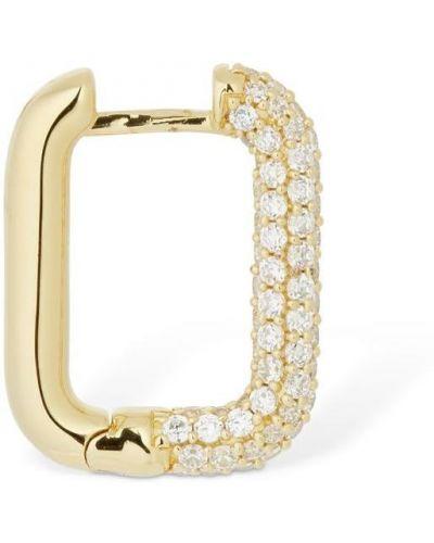 Серебряные серьги золотые с фианитом квадратные Apm Monaco