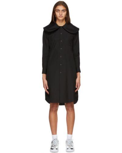 Платье макси из поплина с воротником с длинными рукавами с манжетами Comme Des Garçons