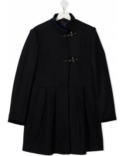 С рукавами расклешенное кашемировое черное длинное пальто Fay Kids