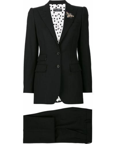 Шерстяной черный костюм с поясом Dolce & Gabbana