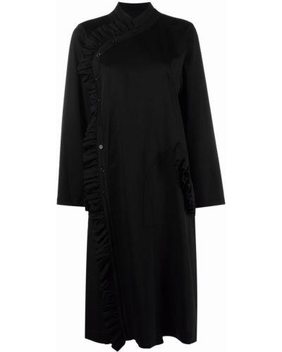 Черное платье миди с оборками с воротником-стойка Comme Des Garçons Noir Kei Ninomiya
