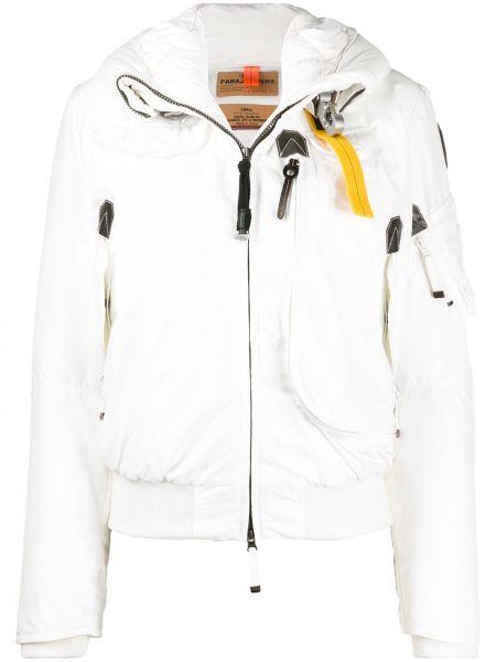 Белая прямая длинная куртка с карманами с перьями Parajumpers
