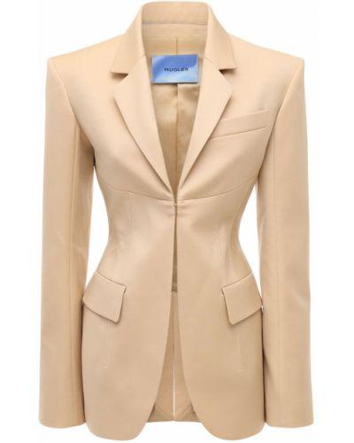 Шерстяной бежевый пиджак с карманами Mugler