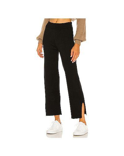 Шелковые черные брюки с поясом с разрезом L'academie