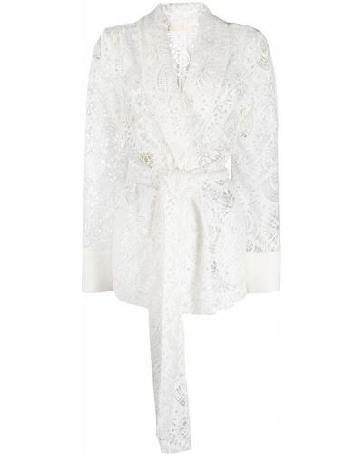 Кружевной белый удлиненный пиджак из вискозы Sara Battaglia