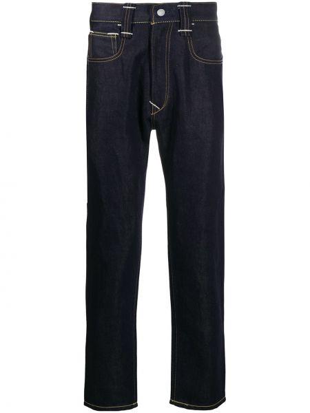 Bawełna niebieski jeansy z łatami z paskiem Junya Watanabe
