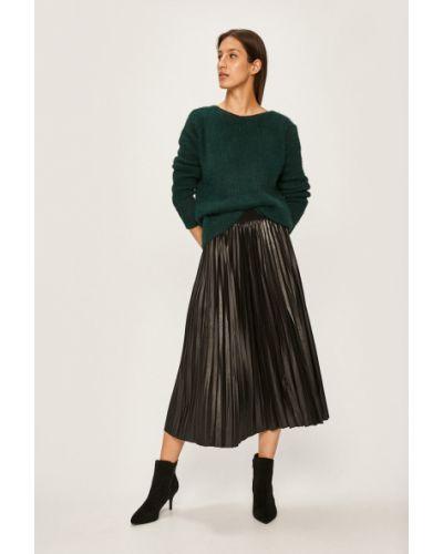 Черная расклешенная плиссированная юбка на резинке в рубчик Answear