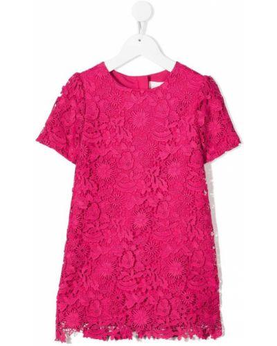 Różowa sukienka mini koronkowa krótki rękaw Charabia