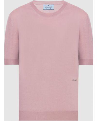 Розовый шерстяной свитер Prada