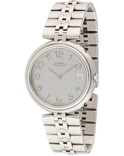 Серебряные часы круглые Hermes
