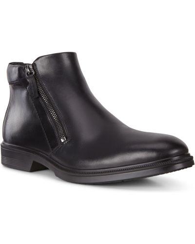 Черные кожаные ботинки на молнии Ecco