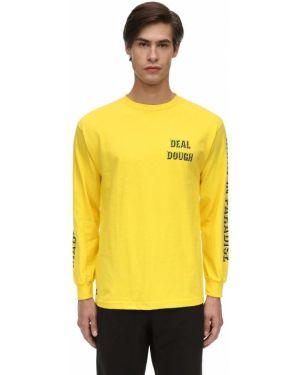 Żółty t-shirt z długimi rękawami bawełniany 1800-paradise
