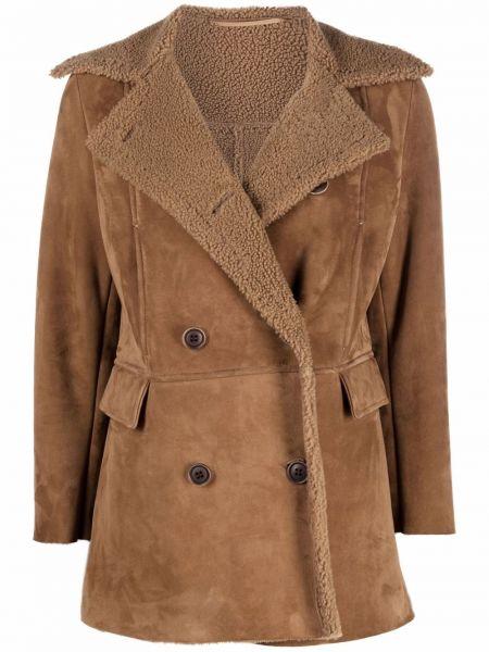 Кожаное пальто - коричневое Salvatore Santoro