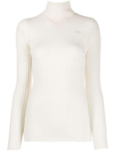 Белый кашемировый свитер с длинными рукавами с заплатками Courrèges