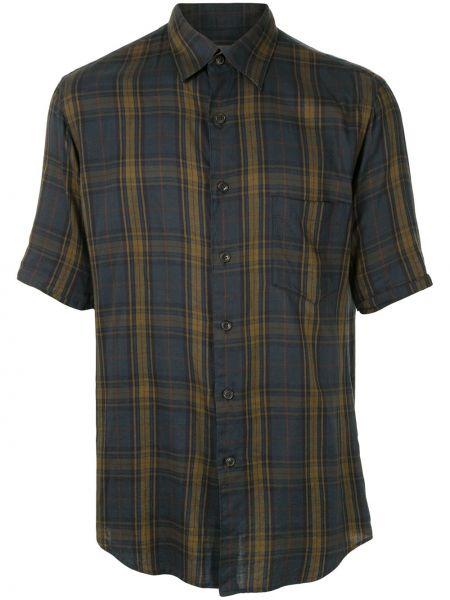 Синяя прямая рубашка с короткими рукавами с воротником на пуговицах Yohji Yamamoto Pre-owned