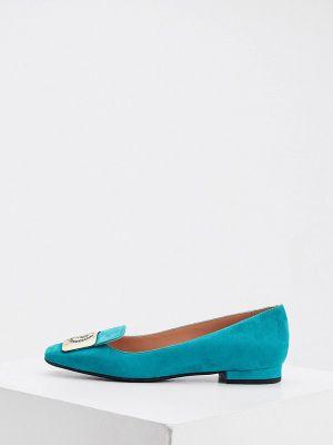 Велюровые туфли - бирюзовые Pollini