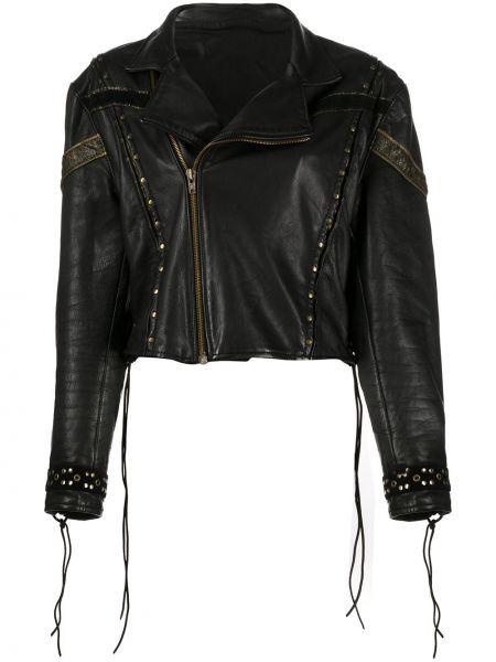 Черная кожаная куртка с бахромой A.n.g.e.l.o. Vintage Cult