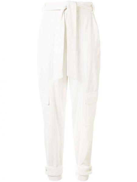Белые зауженные брюки с поясом в рубчик Manning Cartell