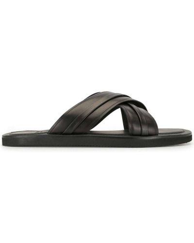 Otwarty z paskiem czarny skórzany sandały Malone Souliers
