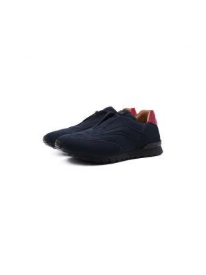 Синие кожаные кроссовки Kiton