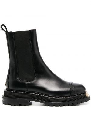 Черные кожаные ботинки с круглым носом Sandro Paris