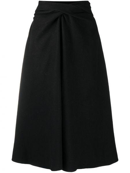 Czarny wełniany spódnica z draperią w połowie kolana Lemaire