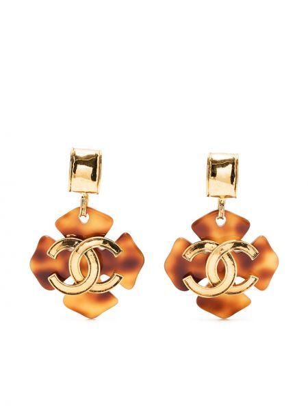 Brązowe kolczyki pozłacane Chanel Pre-owned