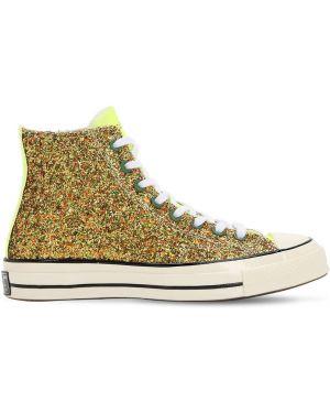 Zielone sneakersy sznurowane koronkowe Converse X J.w.anderson