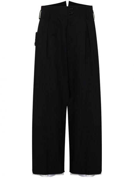 Czarne spodnie wełniane Sulvam