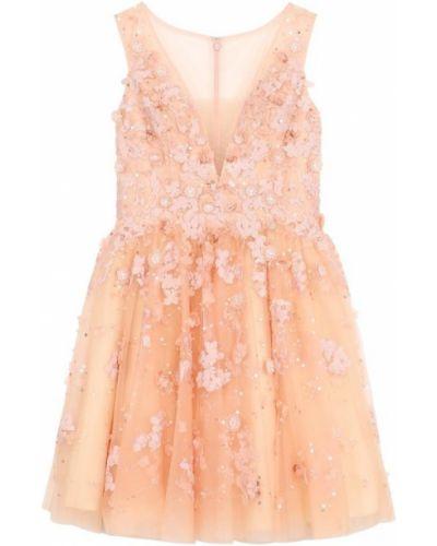 Платье мини с цветочным принтом коктейльное с V-образным вырезом Basix Black Label