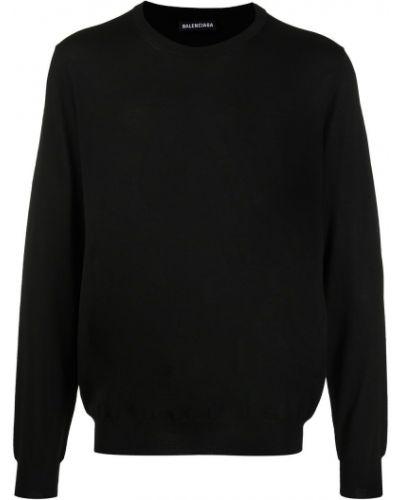 Z rękawami wełniany czarny trykotowy trykotowy zworki Balenciaga