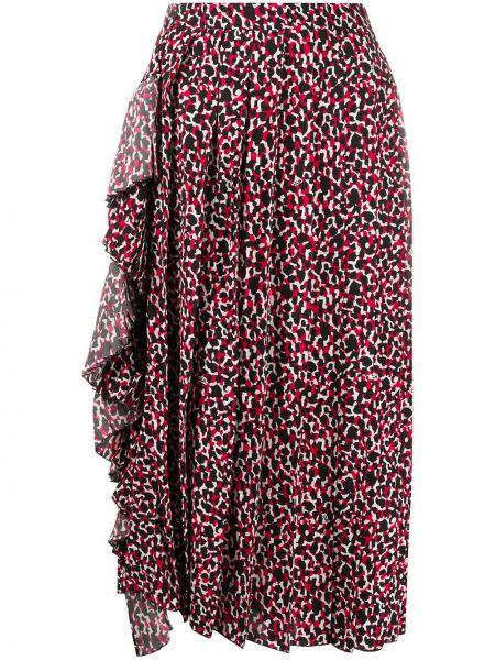 Красная с завышенной талией юбка миди из вискозы N°21