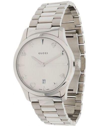 Часы водонепроницаемые серые серебряный Gucci