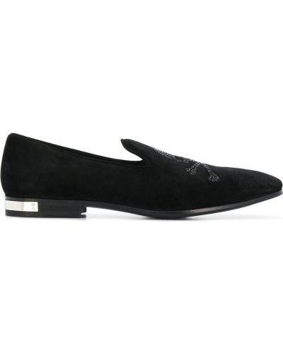 Czarne loafers na obcasie skorzane Philipp Plein