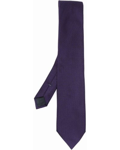 Krawat z printem - fioletowy Ermenegildo Zegna
