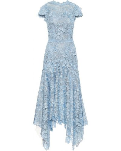 Кружевное синее платье миди на шнурках Costarellos