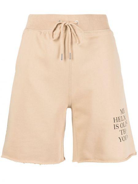 Коричневые хлопковые спортивные шорты с карманами Helmut Lang