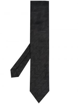 Czarny krawat z jedwabiu z haftem Comme Des Garcons Homme Deux