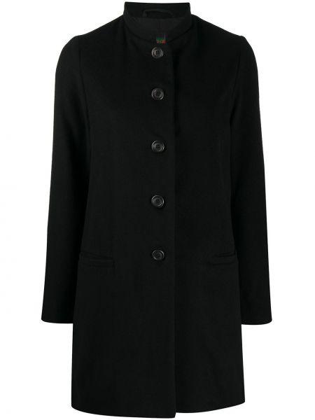 Кашемировое черное пальто с воротником на пуговицах Casey Casey